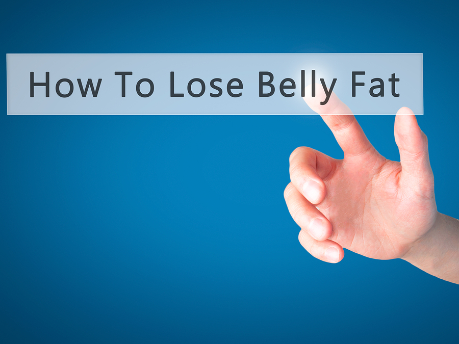 How To Lose Belly Fat - Hand Pressing A Button On Blurred Backgr